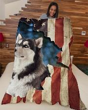 """Beautiful Siberian Husky Large Fleece Blanket - 60"""" x 80"""" aos-coral-fleece-blanket-60x80-lifestyle-front-04"""