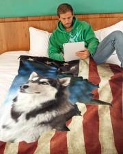 """Beautiful Siberian Husky Large Fleece Blanket - 60"""" x 80"""" aos-coral-fleece-blanket-60x80-lifestyle-front-06"""