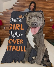 """Just a girl who loves Pit Bull Large Fleece Blanket - 60"""" x 80"""" aos-coral-fleece-blanket-60x80-lifestyle-front-04"""