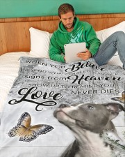 """Pit Bull - Love never dies Large Fleece Blanket - 60"""" x 80"""" aos-coral-fleece-blanket-60x80-lifestyle-front-06"""