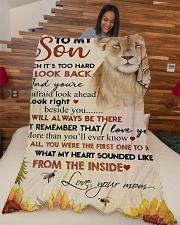 """To my son - I will always be there Large Fleece Blanket - 60"""" x 80"""" aos-coral-fleece-blanket-60x80-lifestyle-front-04"""