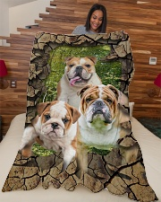 """English bulldog - They are my friends Large Fleece Blanket - 60"""" x 80"""" aos-coral-fleece-blanket-60x80-lifestyle-front-04"""