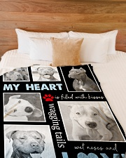 """Pit Bull - My heart is filled with love Large Fleece Blanket - 60"""" x 80"""" aos-coral-fleece-blanket-60x80-lifestyle-front-02"""