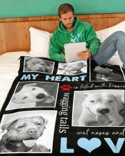 """Pit Bull - My heart is filled with love Large Fleece Blanket - 60"""" x 80"""" aos-coral-fleece-blanket-60x80-lifestyle-front-06"""