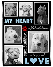 """Pit Bull - My heart is filled with love Large Fleece Blanket - 60"""" x 80"""" front"""