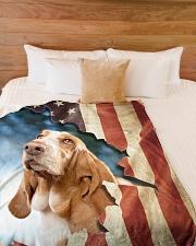 "Beautiful Basset Hound Large Fleece Blanket - 60"" x 80"" aos-coral-fleece-blanket-60x80-lifestyle-front-02"