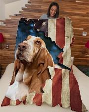 "Beautiful Basset Hound Large Fleece Blanket - 60"" x 80"" aos-coral-fleece-blanket-60x80-lifestyle-front-04"