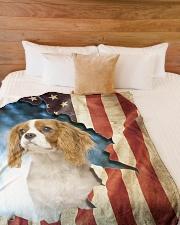 "Beautiful Cavalier King Charles Spaniel Large Fleece Blanket - 60"" x 80"" aos-coral-fleece-blanket-60x80-lifestyle-front-02"