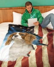 "Beautiful Cavalier King Charles Spaniel Large Fleece Blanket - 60"" x 80"" aos-coral-fleece-blanket-60x80-lifestyle-front-06"