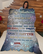 """To my husband - I love you forever and always Large Fleece Blanket - 60"""" x 80"""" aos-coral-fleece-blanket-60x80-lifestyle-front-04"""