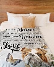 "English Bulldog - Love never dies Large Fleece Blanket - 60"" x 80"" aos-coral-fleece-blanket-60x80-lifestyle-front-02"