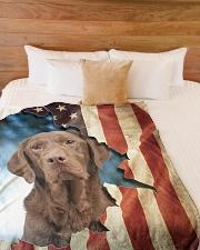 "Chocolate labrador Large Fleece Blanket - 60"" x 80"" aos-coral-fleece-blanket-60x80-lifestyle-front-02"