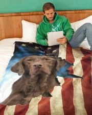 "Chocolate labrador Large Fleece Blanket - 60"" x 80"" aos-coral-fleece-blanket-60x80-lifestyle-front-06"