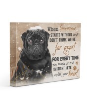 Black Pug - I'm right here in your heart 14x11 Gallery Wrapped Canvas Prints front