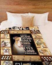 "English Bulldog - Look into their eyes Large Fleece Blanket - 60"" x 80"" aos-coral-fleece-blanket-60x80-lifestyle-front-02"