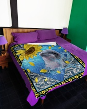"""Dolphin and sunflower Large Fleece Blanket - 60"""" x 80"""" aos-coral-fleece-blanket-60x80-lifestyle-front-01"""