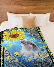 """Dolphin and sunflower Large Fleece Blanket - 60"""" x 80"""" aos-coral-fleece-blanket-60x80-lifestyle-front-02"""