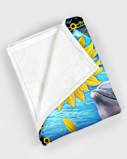 """Dolphin and sunflower Large Fleece Blanket - 60"""" x 80"""" aos-coral-fleece-blanket-60x80-lifestyle-front-08"""
