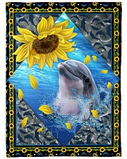 """Dolphin and sunflower Large Fleece Blanket - 60"""" x 80"""" front"""