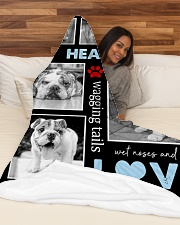 "English Bulldog - Love Large Fleece Blanket - 60"" x 80"" aos-coral-fleece-blanket-60x80-lifestyle-front-03"