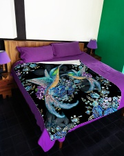 "I love hummingbirds Large Fleece Blanket - 60"" x 80"" aos-coral-fleece-blanket-60x80-lifestyle-front-01"