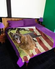 """Beautiful German shepherd and flag Large Fleece Blanket - 60"""" x 80"""" aos-coral-fleece-blanket-60x80-lifestyle-front-01"""