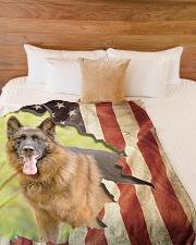 """Beautiful German shepherd and flag Large Fleece Blanket - 60"""" x 80"""" aos-coral-fleece-blanket-60x80-lifestyle-front-02"""