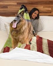 """Beautiful German shepherd and flag Large Fleece Blanket - 60"""" x 80"""" aos-coral-fleece-blanket-60x80-lifestyle-front-03"""