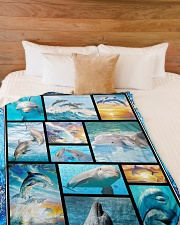 """I freaking love dolphins Large Fleece Blanket - 60"""" x 80"""" aos-coral-fleece-blanket-60x80-lifestyle-front-02"""