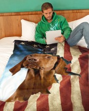 "Beautiful Vizsla Large Fleece Blanket - 60"" x 80"" aos-coral-fleece-blanket-60x80-lifestyle-front-06"