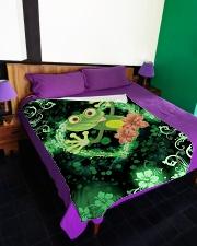 "Beautiful Green Frog Large Fleece Blanket - 60"" x 80"" aos-coral-fleece-blanket-60x80-lifestyle-front-01"