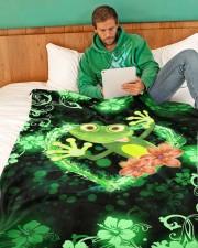 "Beautiful Green Frog Large Fleece Blanket - 60"" x 80"" aos-coral-fleece-blanket-60x80-lifestyle-front-06"