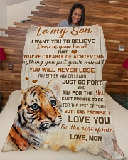 """To my son - I'll love you for the rest of my life Large Fleece Blanket - 60"""" x 80"""" aos-coral-fleece-blanket-60x80-lifestyle-front-04"""