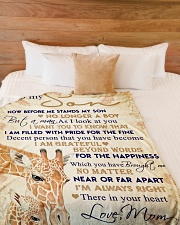 """To my son - I'm always right there in your heart Large Fleece Blanket - 60"""" x 80"""" aos-coral-fleece-blanket-60x80-lifestyle-front-02"""