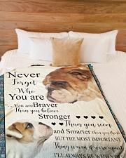 "English Bulldog - Stronger than you think Large Fleece Blanket - 60"" x 80"" aos-coral-fleece-blanket-60x80-lifestyle-front-02"