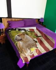 "Beautiful English bulldog and flag Large Fleece Blanket - 60"" x 80"" aos-coral-fleece-blanket-60x80-lifestyle-front-01"