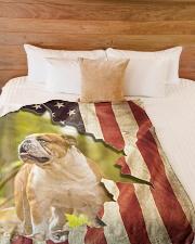 "Beautiful English bulldog and flag Large Fleece Blanket - 60"" x 80"" aos-coral-fleece-blanket-60x80-lifestyle-front-02"