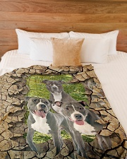 """Pit Bull - They are my friends Large Fleece Blanket - 60"""" x 80"""" aos-coral-fleece-blanket-60x80-lifestyle-front-02"""