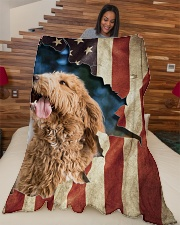 "Beautiful Goldendoodle Large Fleece Blanket - 60"" x 80"" aos-coral-fleece-blanket-60x80-lifestyle-front-04"