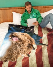 "Beautiful Goldendoodle Large Fleece Blanket - 60"" x 80"" aos-coral-fleece-blanket-60x80-lifestyle-front-06"