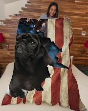 """Beautiful Black Pug Large Fleece Blanket - 60"""" x 80"""" aos-coral-fleece-blanket-60x80-lifestyle-front-04"""