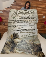 """To my daughter - I am so proud of you Large Fleece Blanket - 60"""" x 80"""" aos-coral-fleece-blanket-60x80-lifestyle-front-04"""