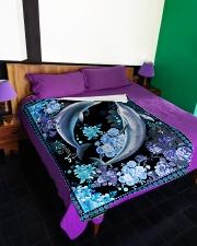 "Beautiful dolphins Large Fleece Blanket - 60"" x 80"" aos-coral-fleece-blanket-60x80-lifestyle-front-01"
