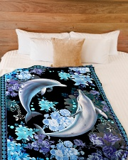 "Beautiful dolphins Large Fleece Blanket - 60"" x 80"" aos-coral-fleece-blanket-60x80-lifestyle-front-02"