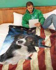 "Beautiful Border Collie Large Fleece Blanket - 60"" x 80"" aos-coral-fleece-blanket-60x80-lifestyle-front-06"