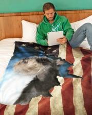 "Beautiful Miniature Schnauzer  Large Fleece Blanket - 60"" x 80"" aos-coral-fleece-blanket-60x80-lifestyle-front-06"