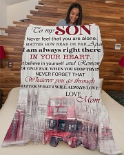 """To my son - Never feel that you are alone Large Fleece Blanket - 60"""" x 80"""" aos-coral-fleece-blanket-60x80-lifestyle-front-04"""