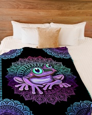 "I love frogs Large Fleece Blanket - 60"" x 80"" aos-coral-fleece-blanket-60x80-lifestyle-front-02"