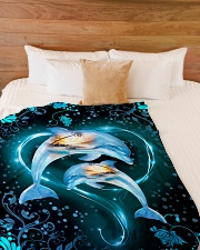 """Dolphins are always in my heart Large Fleece Blanket - 60"""" x 80"""" aos-coral-fleece-blanket-60x80-lifestyle-front-02"""