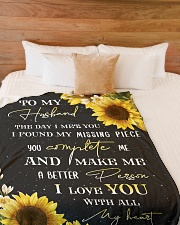 """To my husband - You're my missing piece Large Fleece Blanket - 60"""" x 80"""" aos-coral-fleece-blanket-60x80-lifestyle-front-02"""
